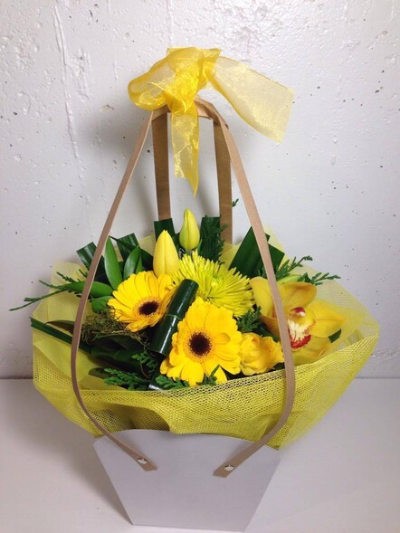 Yellow posy in water bag